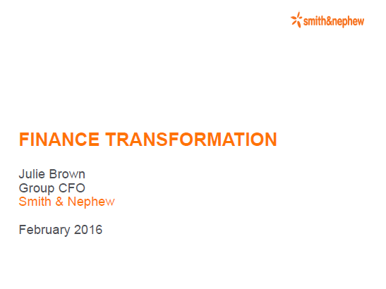2016 Presentation - Julie Brown, Group CFO at Smith & Nephew