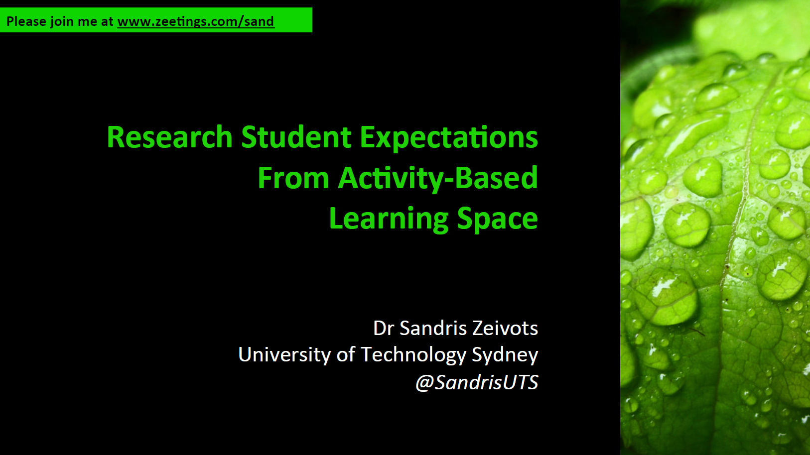 Research Student Expectations from activity based learning space