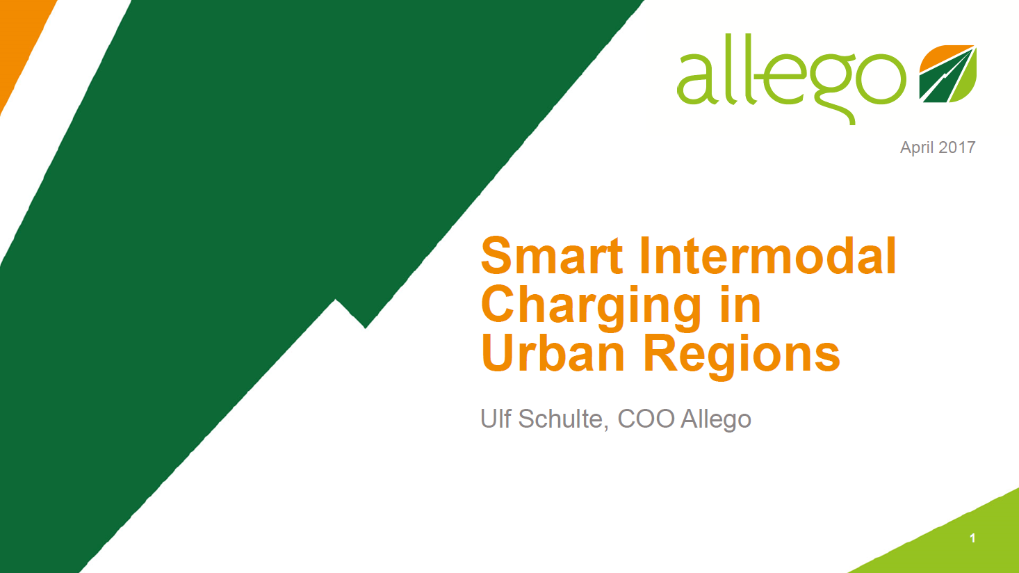 Presentation on Smart Intermodal Charging in Urban Regions