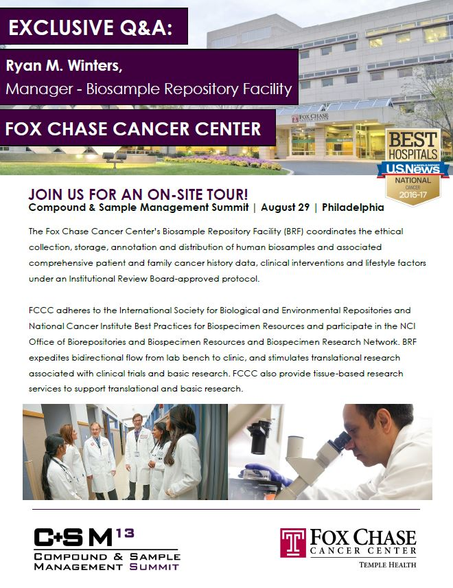 Exclusive Q&A: Ryan M. Winters, Manager - Biosample Repository Facility, Fox Chase Cancer Center | 13th Compound and Sample Management Summit