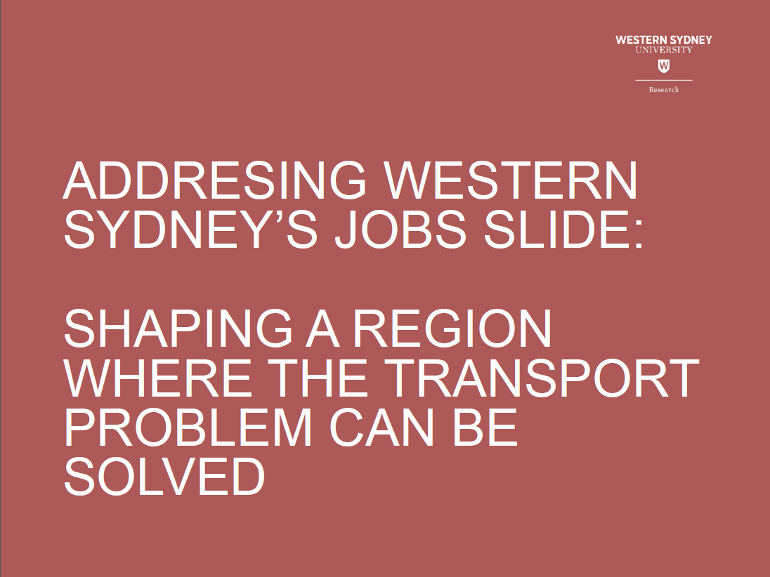 Building A Western Sydney Where Transport Problems Can Be Solved