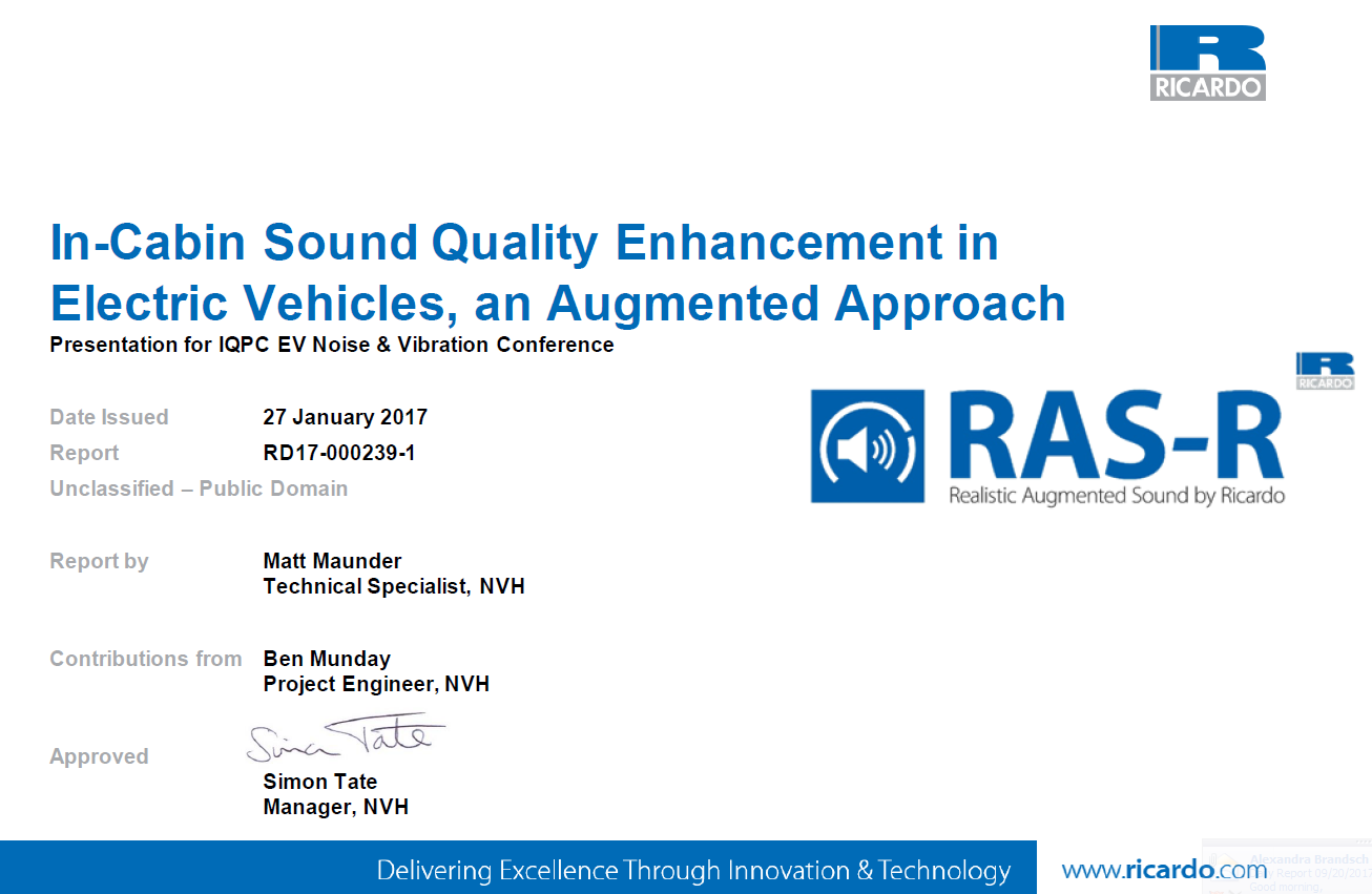 Ricardo Presentation on In-Cabin Sound Quality Enhancement in Electric Vehicles
