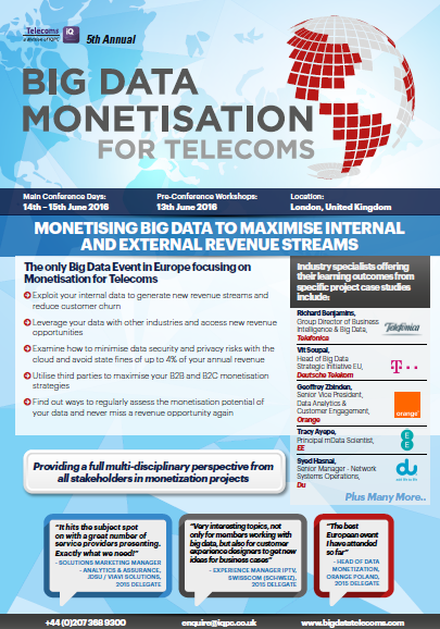 Download the 2016 Big Data Monetisation for Telecoms Agenda
