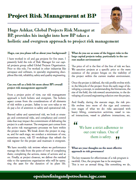 Project Risk Management at BP