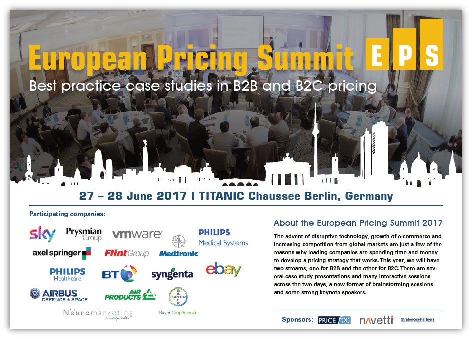 European Pricing Summit Agenda 2017