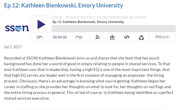 Podcast with Kathleen Bienkowski: Shared Services at Emory University