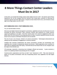 8 More Things Contact Center Leaders Must Do In 2017