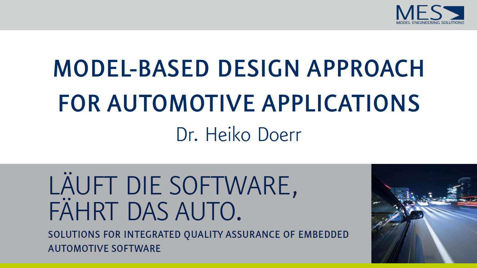 Presentation on model-based design approach for automotive applications