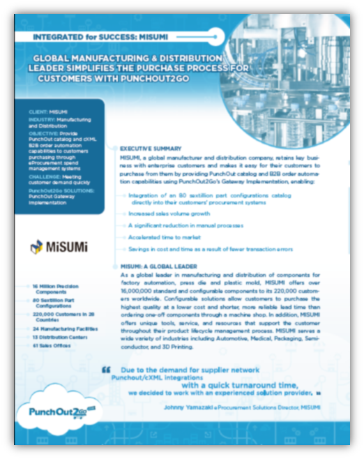 Case Study on how MISUMI implemented complex catalog and B2B order automation