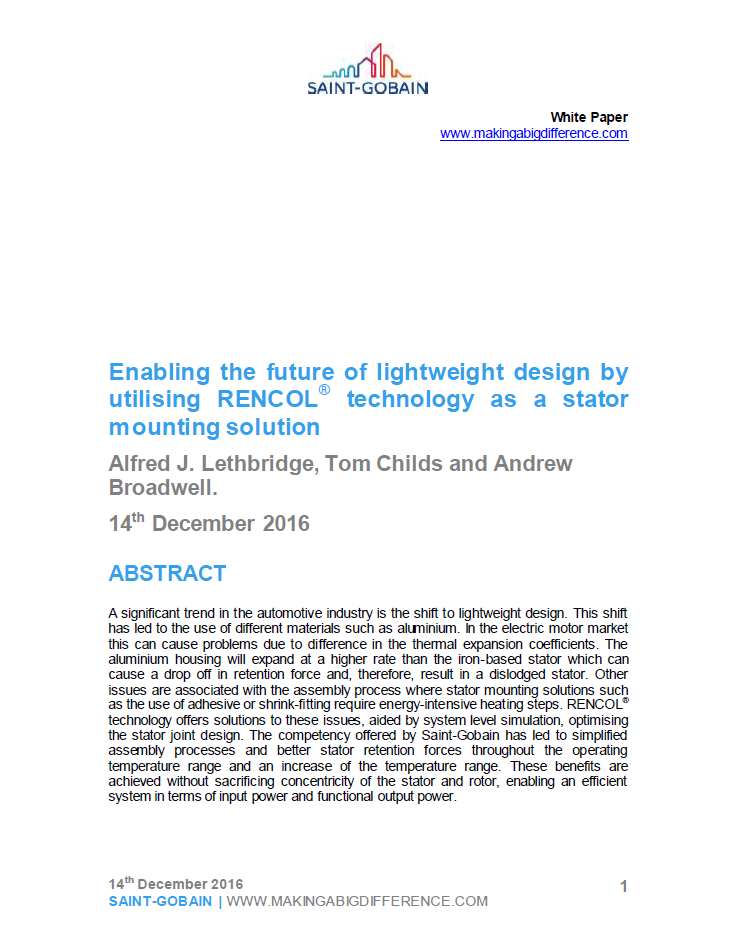 Saint-Gobain white paper: Enabling the future of lightweight design by utilising RENCOL® technology as a stator mounting solution