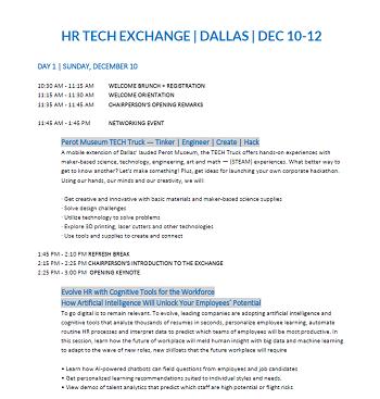 HR Technology Exchange Agenda
