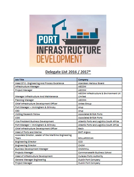 Port Infrastructure Development Sample Attendee List