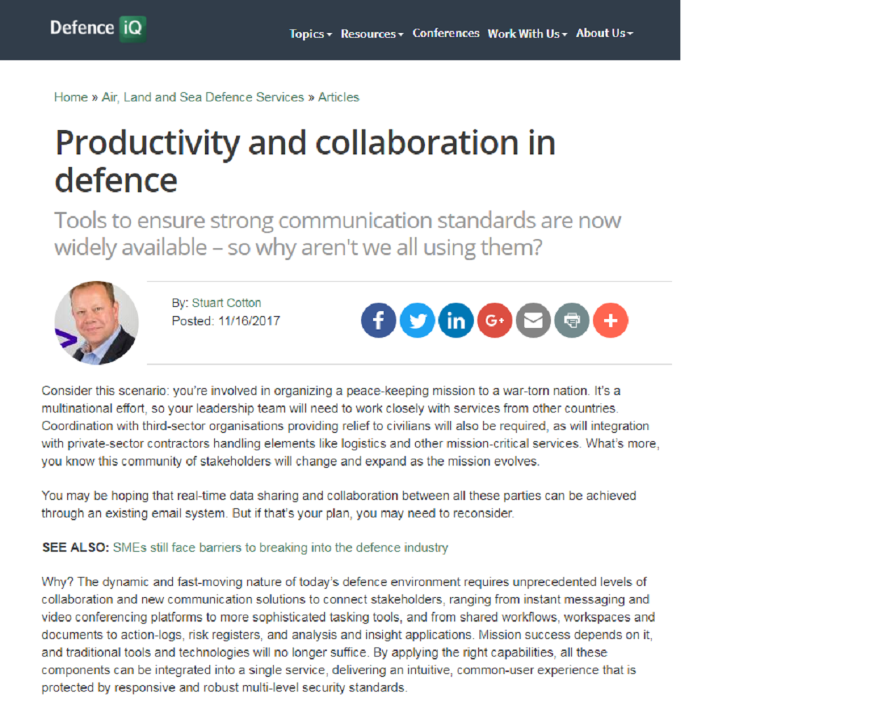 Productivity and Collaboration in Defense