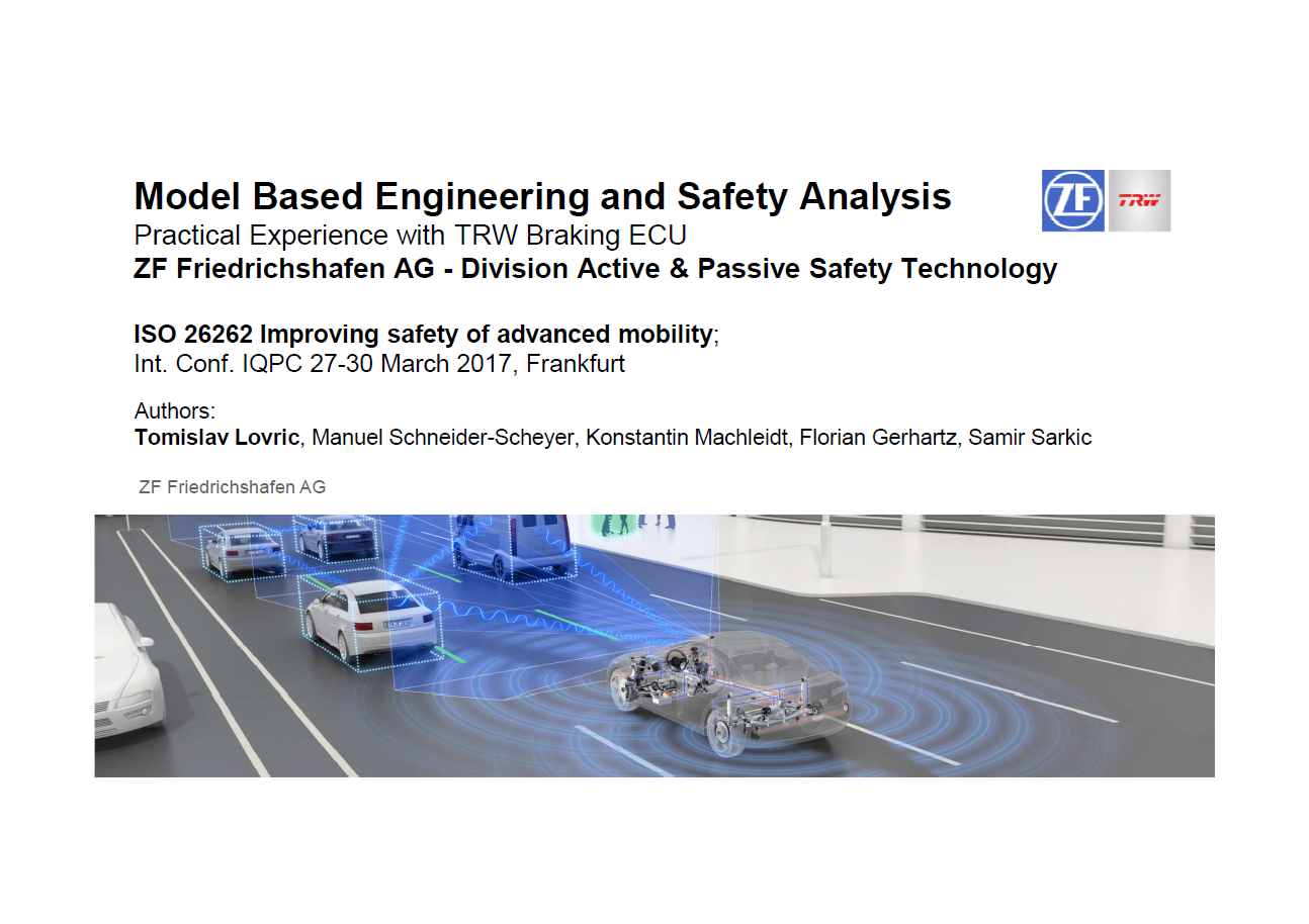 Presentation on Model Based Engineering and Safety Analysis