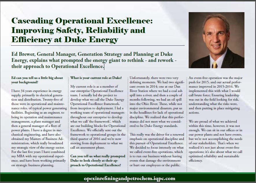 Cascading Operational Excellence at Duke Energy