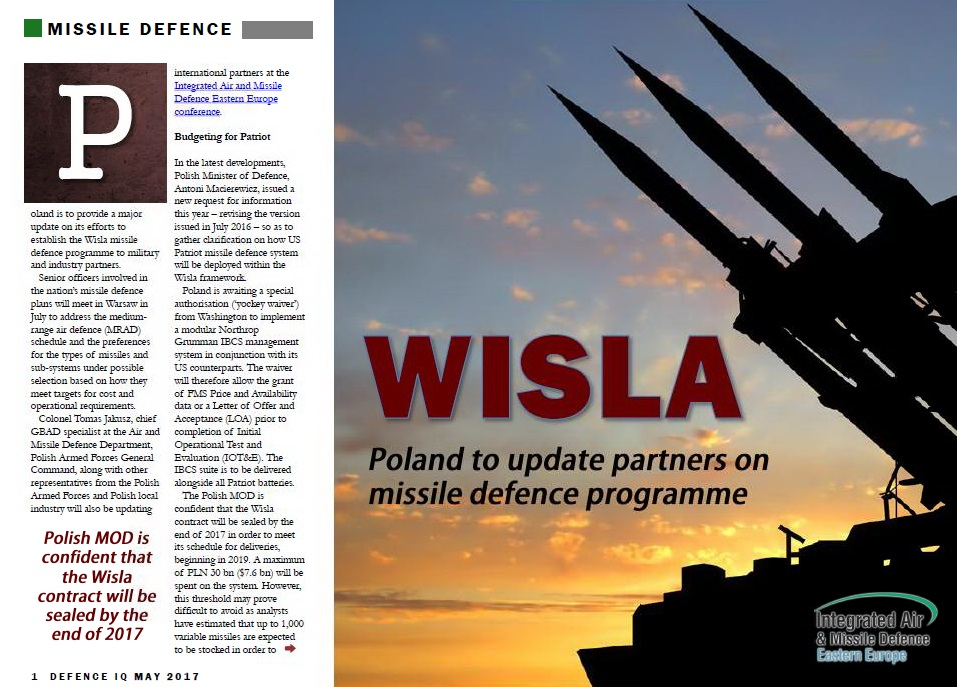 Poland to update partners on WISLA missile defence programme