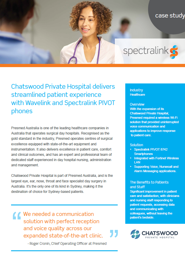 Chatswood Private Hospital delivers streamlined patient experience with Wavelink and Spectralink PIVOT phones