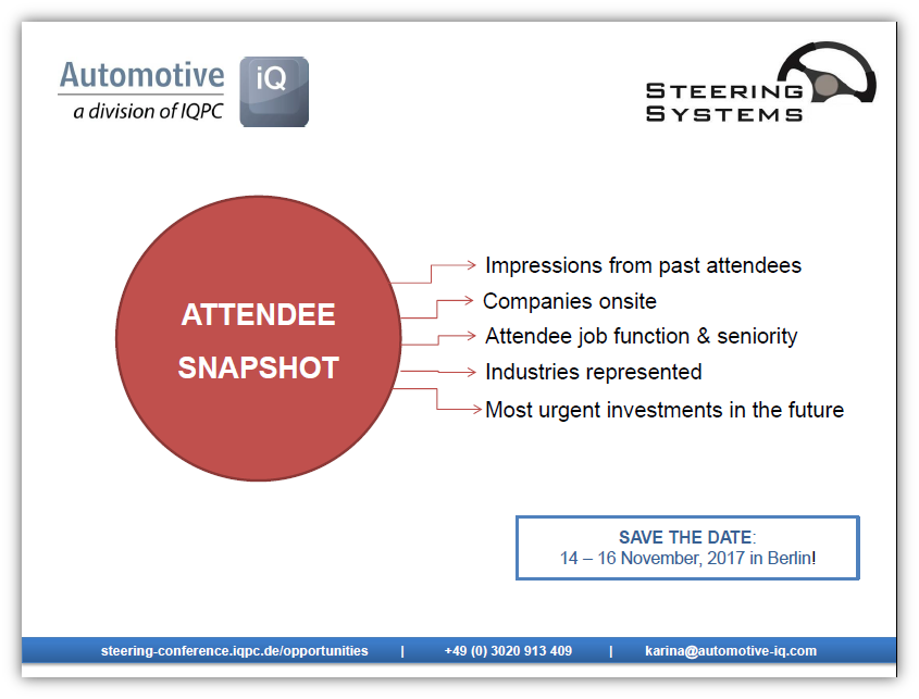 Attendee Snapshot - Steering Systems