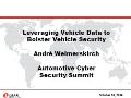 Leveraging Vehicle Data to Bolster Vehicle Security