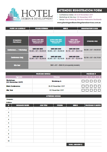 Hotel Design and Development 2017 Registration Form
