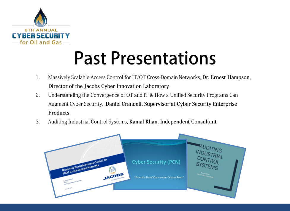 Cyber Security for Oil & Gas Past Presentations
