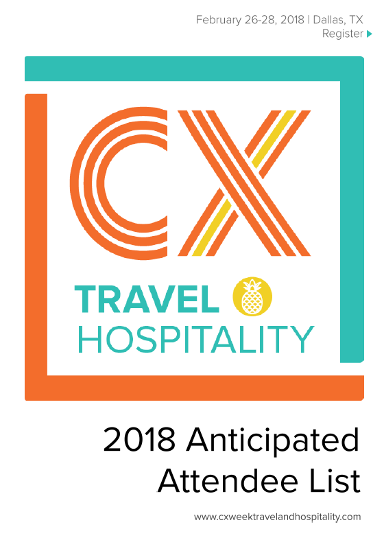 2018 CX Week Travel and Hospitality Anticipated Attendee List