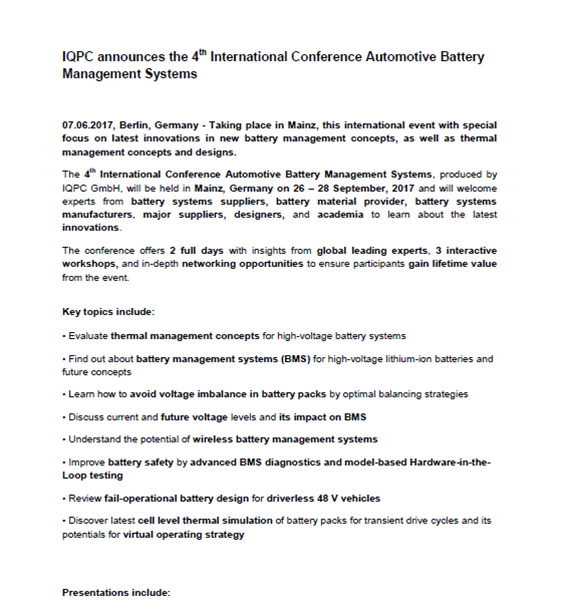 Press Release: Automotive Battery Management Systems