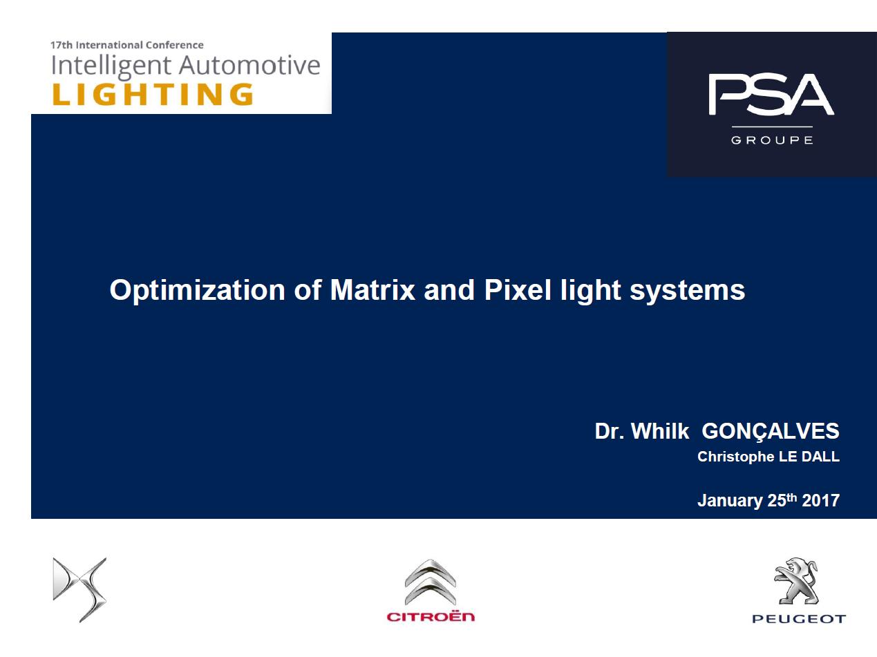 PSA Presentation on Future Trends of Automotive Lighting