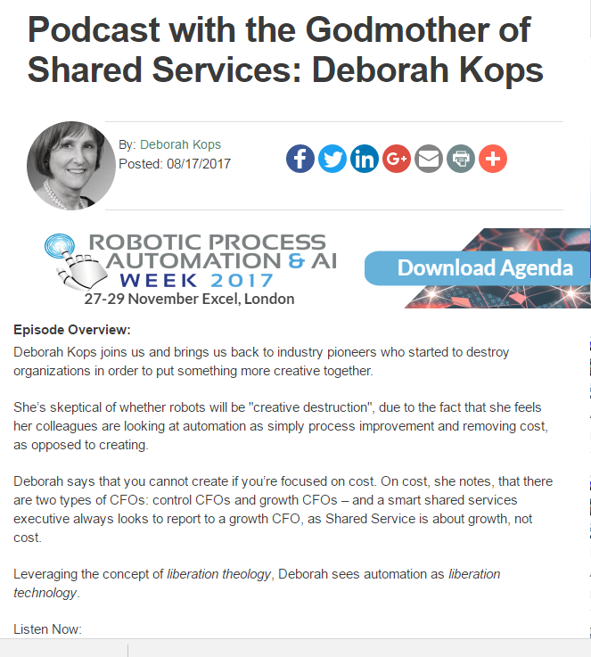 Podcast with the Godmother of Shared Services: Deborah Kops