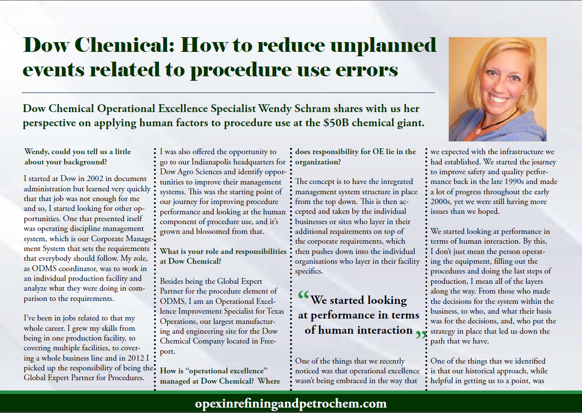 Dow Chemical: How to reduce unplanned events related to procedure use errors