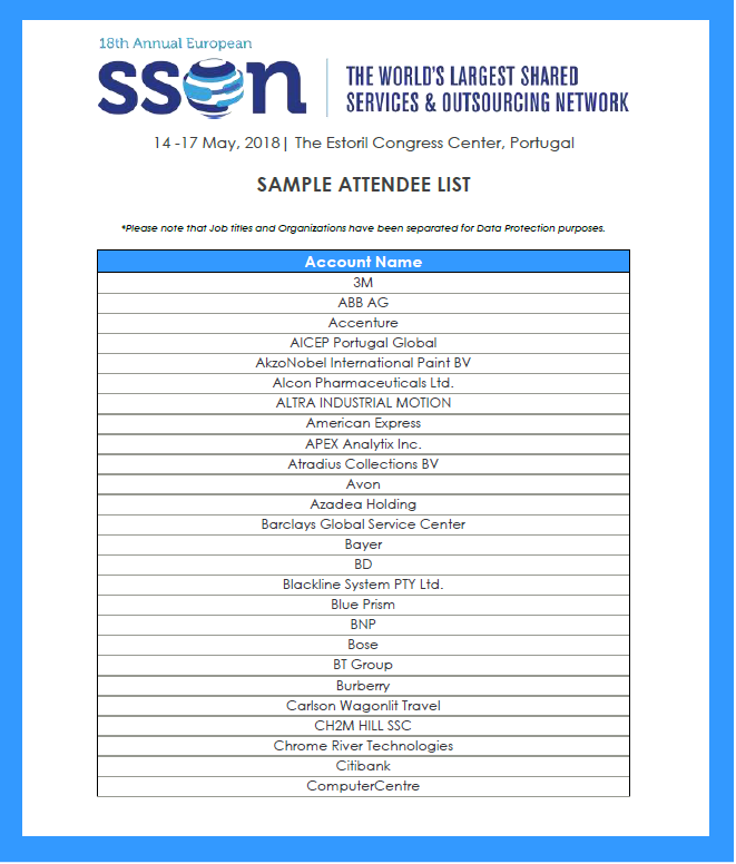 Shared Services and Outsourcing Week Sample Attendee List
