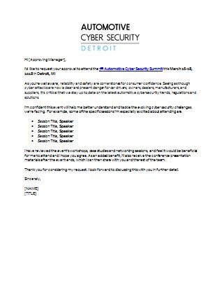 Dear Boss Letter: Justify Your Attendance to the 2018 Automotive Cyber Security Detroit