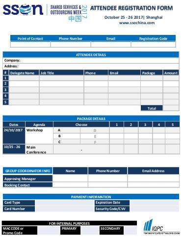 SSOW China 2017 - Registration Form