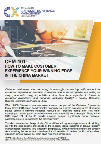 CEM 101: How to make Customer Experience your Winning Edge in the China Market