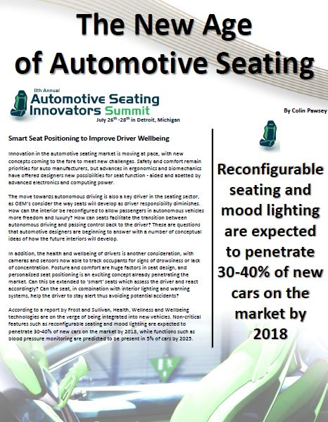 The New Age of Automotive Seating:  Improving Driver Wellbeing, Safety and Comfort