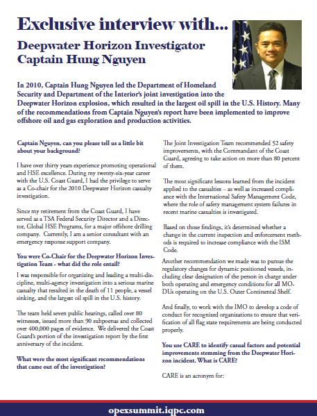 60 seconds interview with Deepwater Horizon Investigator