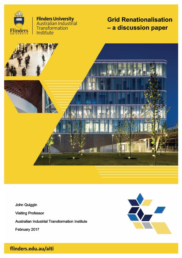 Grid Renationalisation – a discussion paper