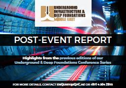 Post-Event Report: Underground & Deep Foundations Conference Series