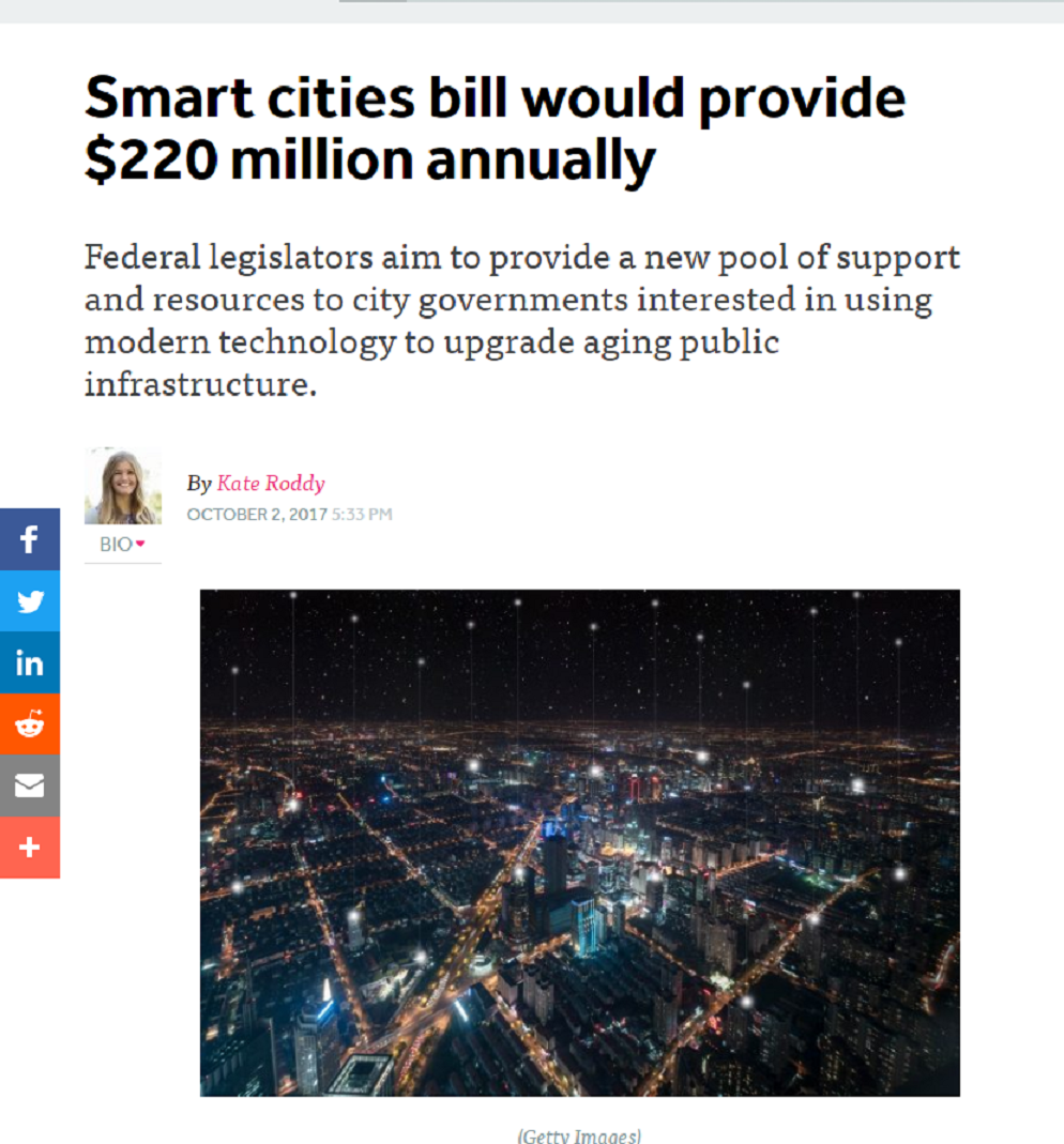 Smart Cities Bill Would Provide $220 Million Annually