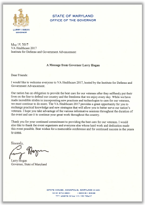 Letter from Larry Hogan, Governor of the State of Maryland