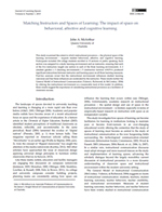Matching Instructors and Spaces of Learning: The impact of space on behavioral, affective and cognitive learning