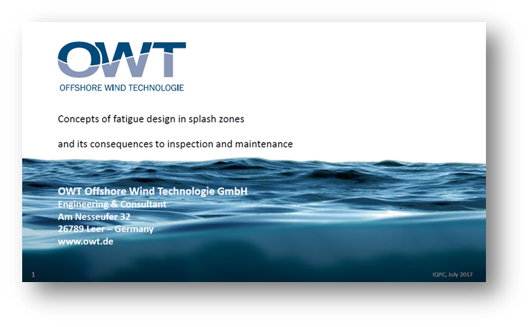 OWT presentation on Concepts of fatigue design in splash zones