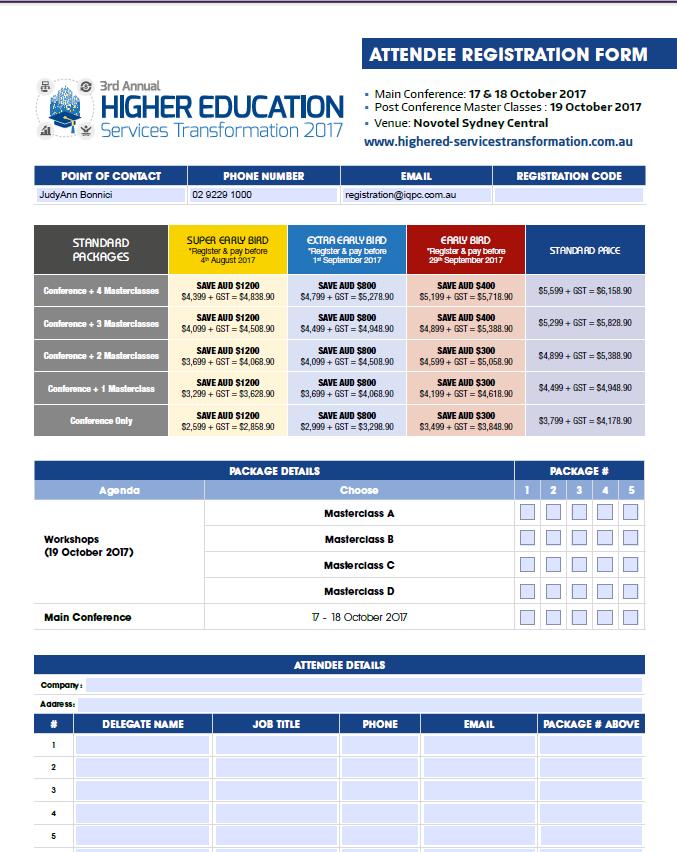 Higher Education Services Transformation 2017 Registration Form