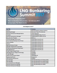 Sample LNG Attendee List 2018