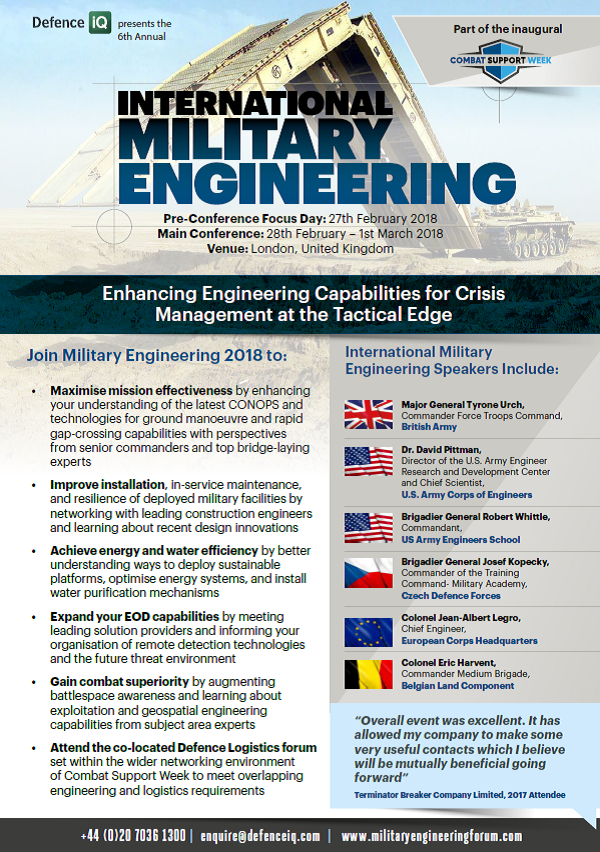 Download the Military Engineering 2018 Agenda