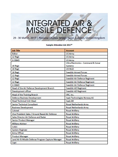 Integrated Air and Missile Defence Attendee List 2017