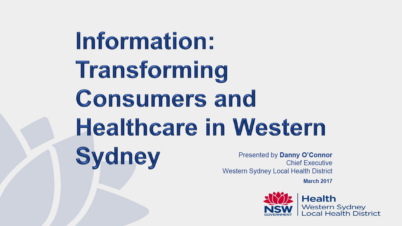 Information: Transforming Consumers and Healthcare in Western Sydney