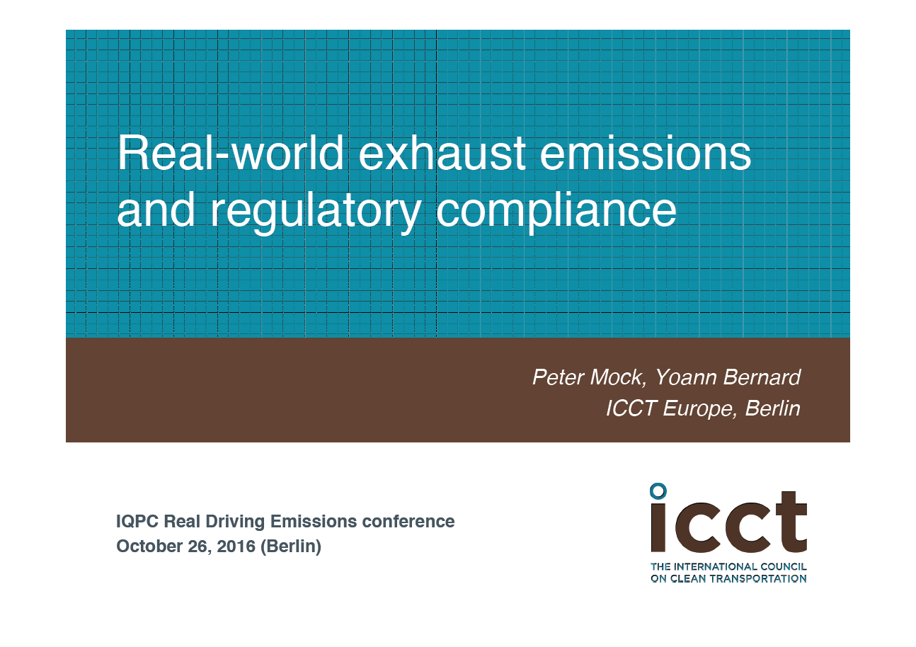 ICCT Europe presentation on real-world exhaust emissions and regulatory compliance