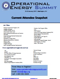 Operational Energy Current Attendee Snapshot