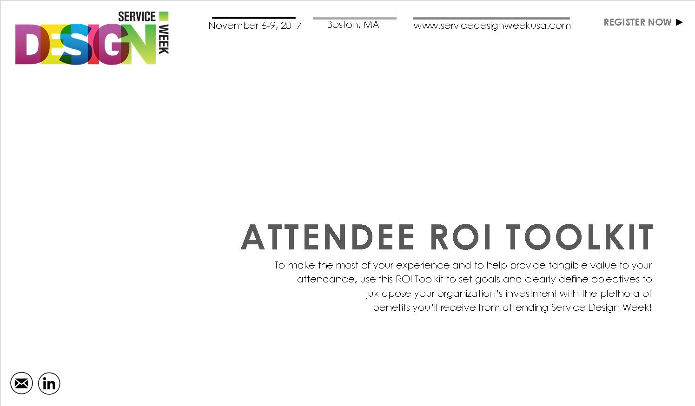 2017 Service Design Week ROI Toolkit
